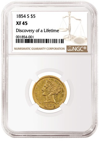 David Lawrence Rare Coins and John Albanese Acquire the Famous 1854-S $5 NGC XF45