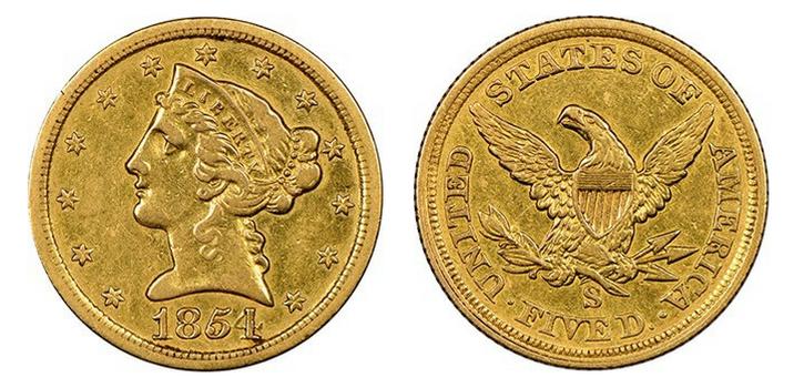1854-S $5 NGC XF45